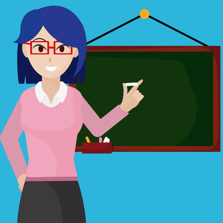 Woman teacher with blackboard cartoon concept vector illustration graphic design