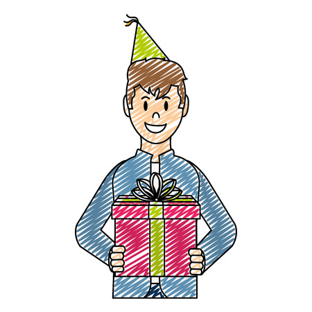 doodle happy man with present gift and party hat vector illustration