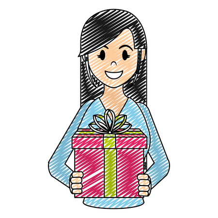 doodle happy woman with present gift and ribbon bow vector illustration