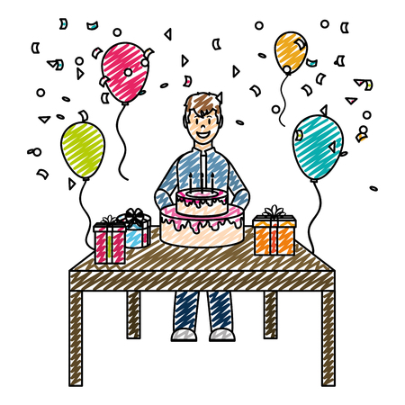 doodle man celebrating happy birthday party vector illustration