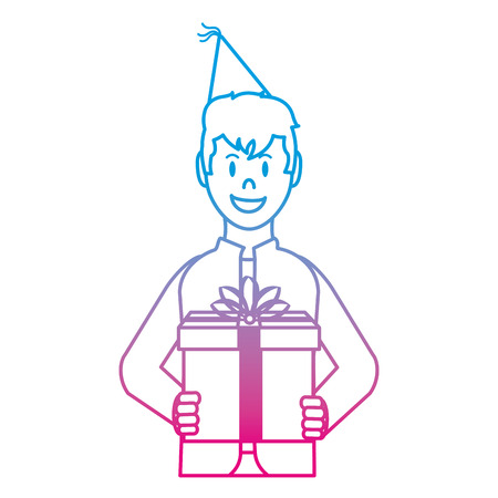degraded line happy man with present gift and party hat Illustration