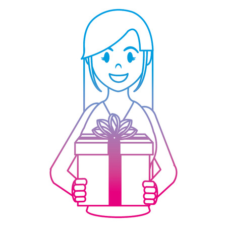 degraded line happy woman with present gift and ribbon bow