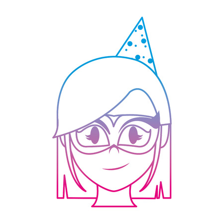 degraded line woman head with party hat and mask
