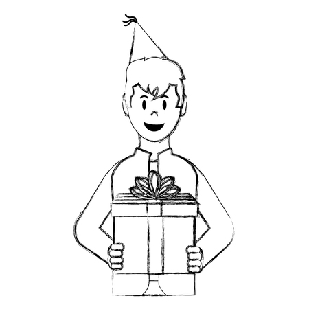 grunge happy man with present gift and party hat