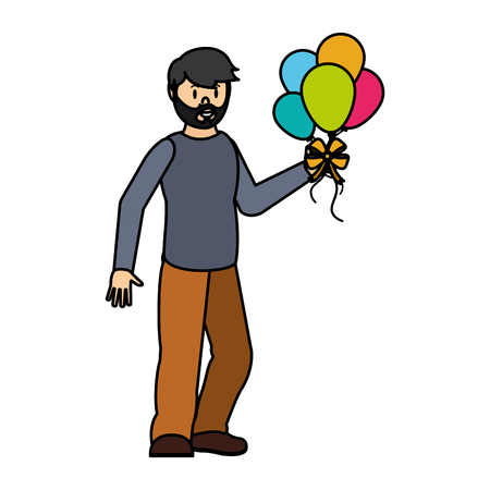 color happy man with balloons in the hands to party