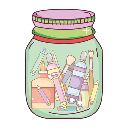 school tools inside mason glass object vector illustration