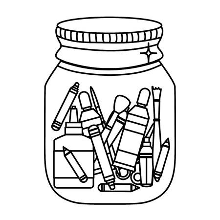 line school tools inside mason glass object Ilustração