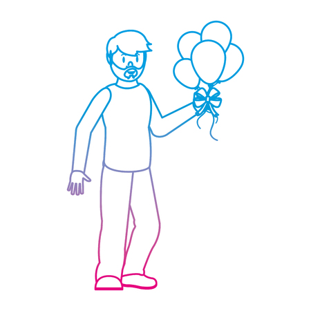 degraded line happy man with balloons in the hands to party vector illustration