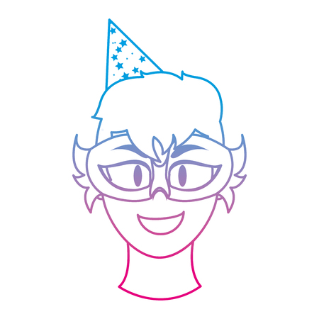 degraded line man head with birthday party mask and hat vector illustration