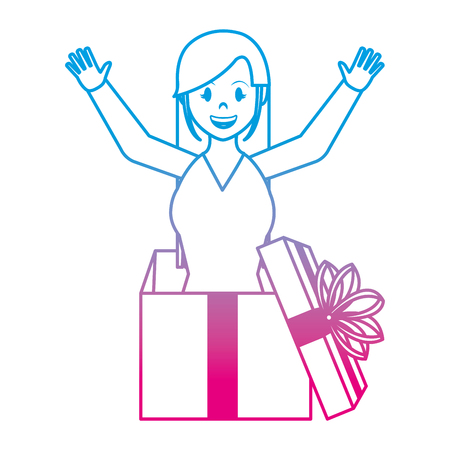 degraded line woman inside present gift with ribbon bow vector illustration