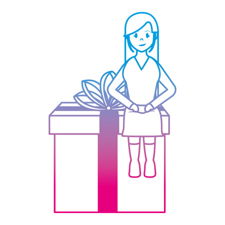 degraded line woman sitting in present gift with ribbon bow vector illustration Illustration