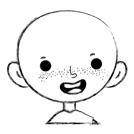 grunge happy child boy bald with t-shirt vector illustration