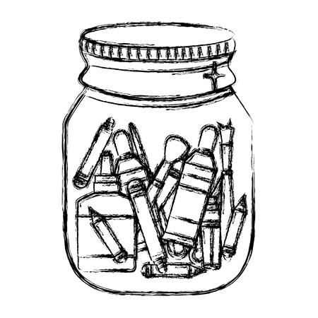 grunge school tools inside mason glass object vector illustration
