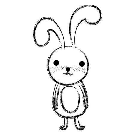 grunge adorable rabbit wild cute animal vector illustration