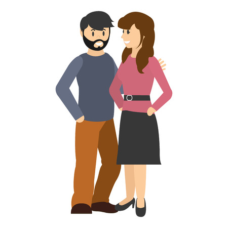 couple woman and man together with haistyle vector illustration