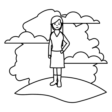 line happy woman with clothes and hairstyle in the landscape vector illustration