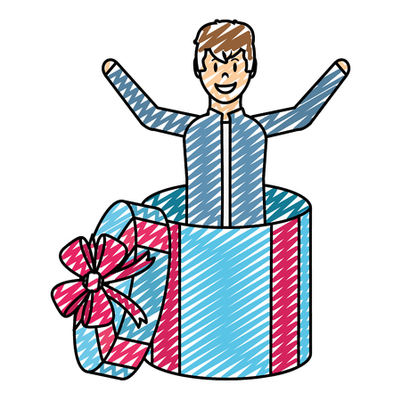 doodle happy man inside present gift with ribbon bow Illustration