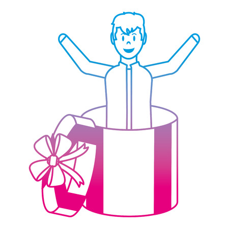 degraded line happy man inside present gift with ribbon bow