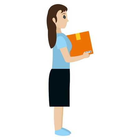 woman with box delivery package service