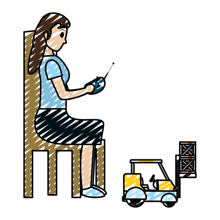 doodle woman sitting and playing with industrisla forklit packages vector illustration