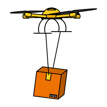 Quad copter  technology with delivery package service icon Vectores