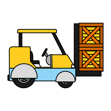 Colored industrial forklift shipping cargo transportation
