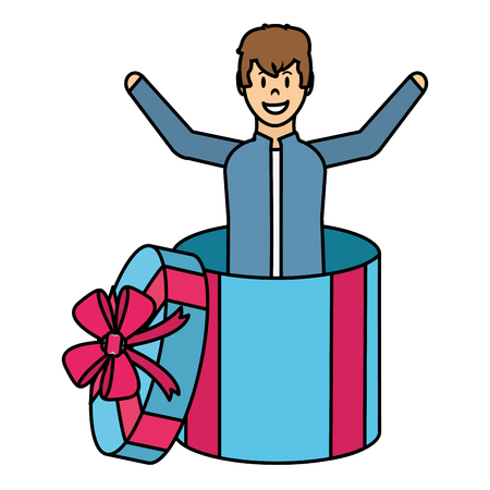 Colored happy man inside a gift box with ribbon.