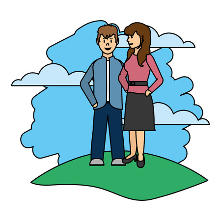 Color couple woman and man together in the landscape  イラスト・ベクター素材