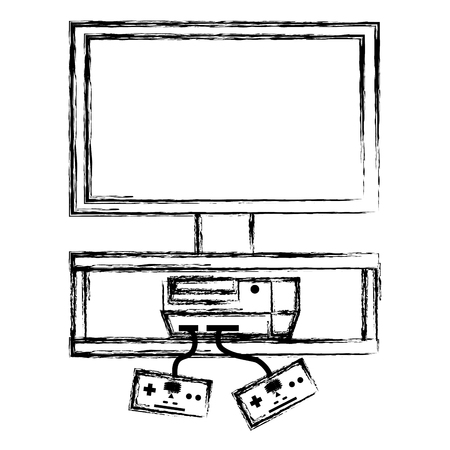 grunge television with videogame console with controller technology