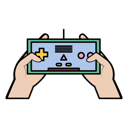 color electronic videogame controller technology in the hands Illustration