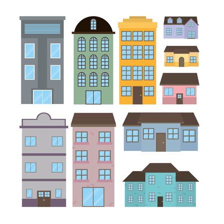 Set of houses and buildings icon.