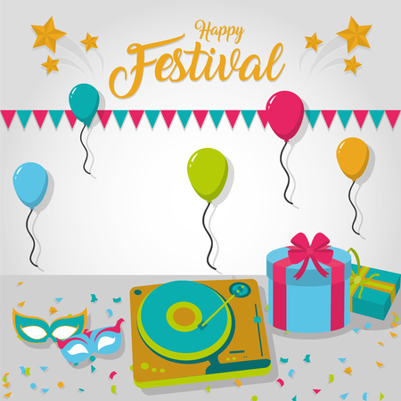 Happy festival card with party decoration vector illustration graphic design