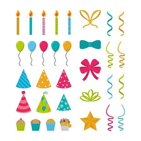 Set of birthday elements collection vector illustration graphic design