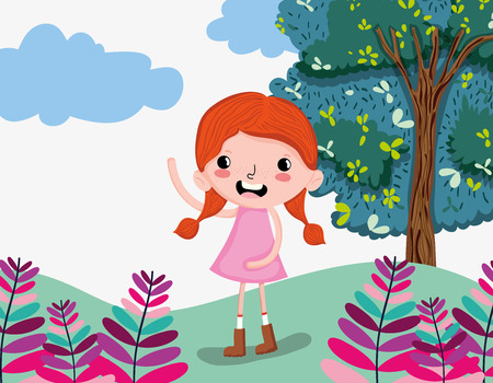 Beautiful girl at forest cute cartoons vector illustration graphic design Vectores