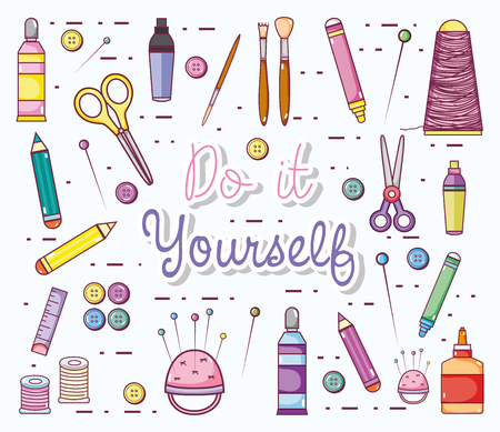 Do it yourself cartoons with craft supplies vector illustration graphic design Stock Illustratie