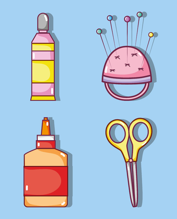 Set of craft supplies collection vector illustration graphic design