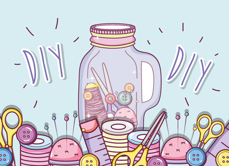Do it yourself crafts with mason jar concept vector illustration graphic design