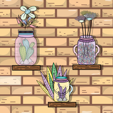 Mason jars with flowers vintage drawing on pastel colors vector illustration graphic design