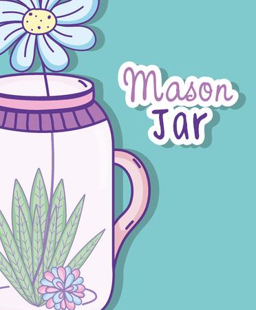 Garden mason jar cute cartoon concept vector illustration graphic design