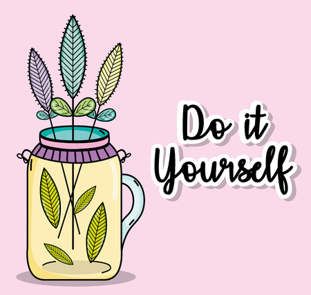 Do it yourself cartoons concept with plant illustration.