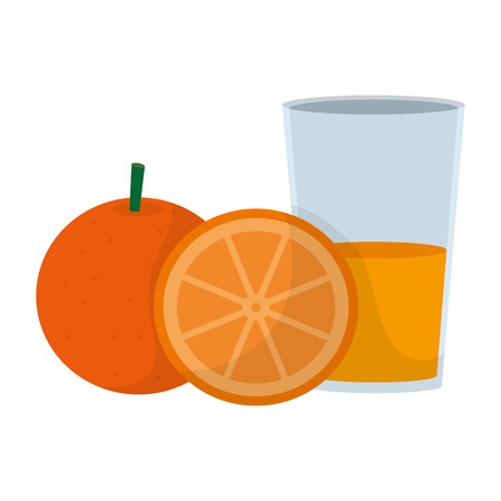 Organic orange fruit and healthy juice illustration.