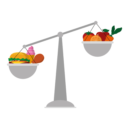 Scale balance object with healthy and unhealthy food.