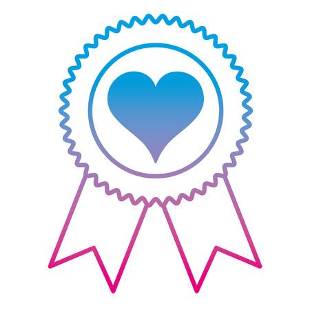 Degraded line heart symbol inside emblem with ribbon decoration
