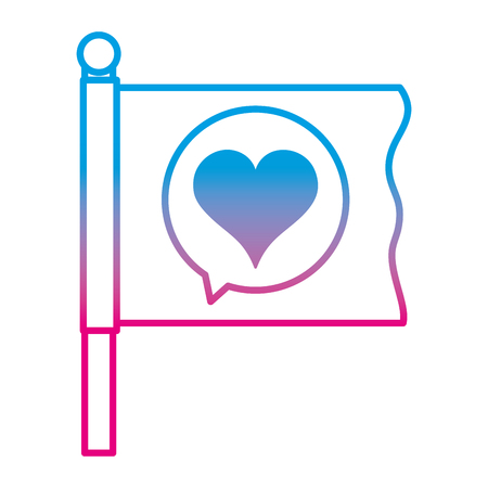 Degraded line flag with heart inside chat bubble message Illustration