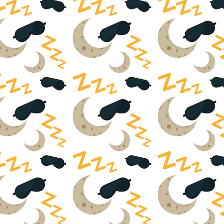 sleep mask and symbol with moon background Vector illustration.