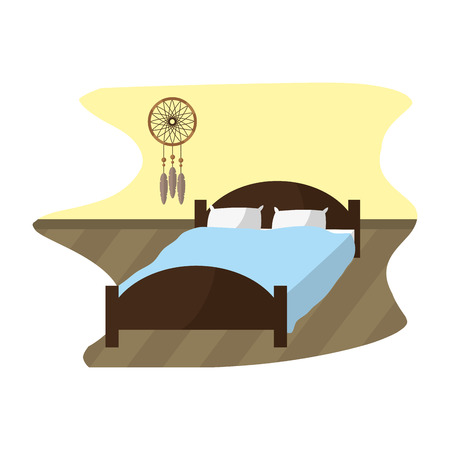 comfortable bed with pillow object and dream catcher Vector illustration.
