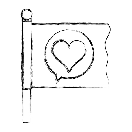grunge flag with heart inside chat bubble message