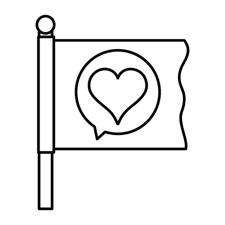 line flag with heart inside chat bubble message Illustration
