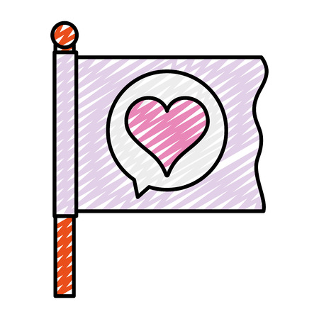 doodle flag with heart inside chat bubble message