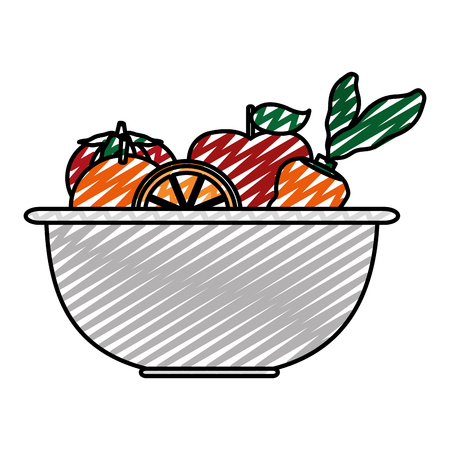Doodle healthy vegetables and fresh fruits inside bowl.